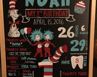 Real birthday chalkboard (not digital), Dr Seuss, Cat in the Hat, Thing 1, 1st first birthday, pictures, photo prop