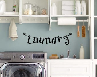 Laundry vinyl wall decal, laundry room, bathroom, bedroom, wall decals, wall word, removable stickers, home decor, mud room, clothes line-94