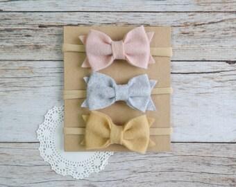 Set of 3 Felt Bow Nylon headbands, baby nylon headband, newborn headband, baby hair bow, baby shower gift set, nylon headband set