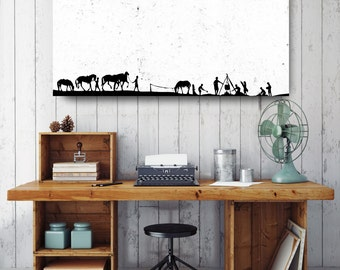 Campfire With Horses Silhouette, Black and White Print, Silhouette Wall Art, Canvas Wall Decor, Black & White Canvas, Printed on Canvas