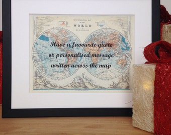 Personalised gift, Custom Map, Graduation Gift, Birthday Gift, Gift for Traveller, Custom map art, World map, Old Map, World Map Poster