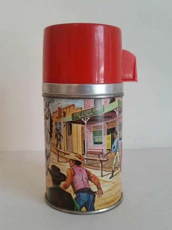 RARE Vintage Gunsmoke Lunchbox Thermos with Lady Gay Saloon | Aladdin Tin-Litho Metal Thermos | Matt Dillon | Wild West TV Show