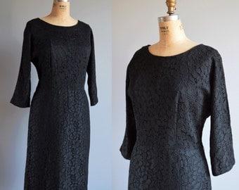 Dolce Notte dress - vintage 1960s black lace dress - 60s wiggle dress