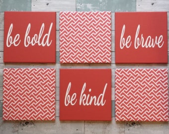 Beach Wall Grouping~Set of SIX Wall Canvases~Gallery Wall Hanging~Coral and White Wall Decor~Be Kind Be Brave Be Bold Hand Painted WallDecor