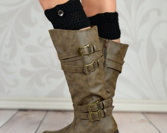 Scalloped Button Boot Toppers - Black