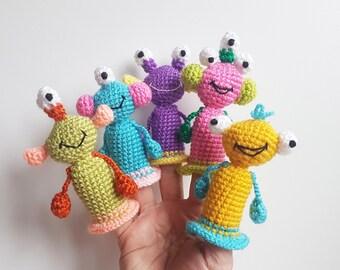 Monsters Finger Puppets crochet toys finger theater aliens Waldorf toy kids gift baby shower gift baby toys christmas gift toy play set gift