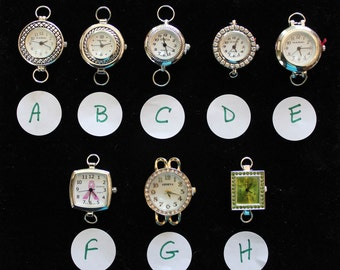 Silver, Gold and Rhinestone 2 Loop Watch Faces for Interchangeable Watch Bracelet
