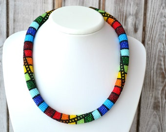 African beaded crochet rope chocker necklace Multicolor summer bright embroidered vyshyvanka necklace Statement beadwork necklace jewelry