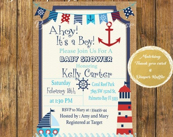 Digital file or Printed-Nautical Baby Shower Invitation-Ahoy It's A Boy Digital Invite-Navy Baby Boy Shower-Sailor-Anchor Baby-Lighthouse