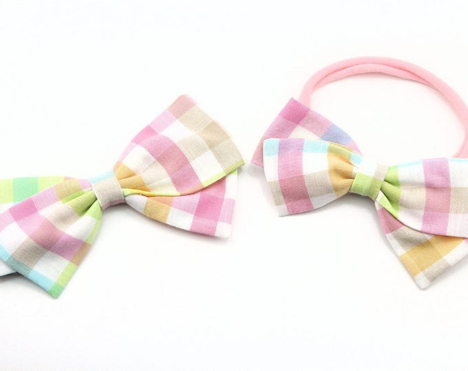 Baby Girl, Toddler, Girls Fabric Bow, Newborn, Hand tied bow- Plaid Spring Bow