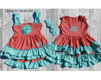 Boutique Girls / Baby Spring Summer Coral Pink and Aqua Blue Ruffle Short Set add name