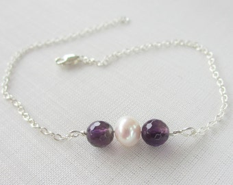 Sterling silver, freshwater pearl, and amethyst bar bracelet