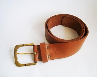 Brown belt, Brown leather, Vintage Belt, leather belt, metal buckle, belt for jeans, Jack Jones belt, Turkish belt, UK size 85, Cow leather