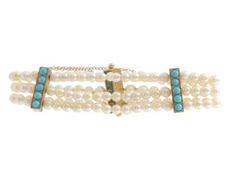 Antique Pearl and Turquoise Bracelet