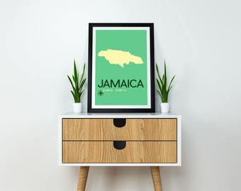 Jamaica Map Travel Poster -Jamaican Art Print, Caribbean Island Travel Artwork, Vacation Souvenir for Travellers, Snowbirds, Jamaica Poster