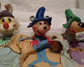 Vintage Ricochet Rabbit, Mushmouse & Droop A Long Coyota Hanna Barbera Hand Puppets
