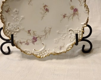 Vintage Leonard Vienna Austria Porcelain Scalloped Plate with Pink Flowers and Gold Edge