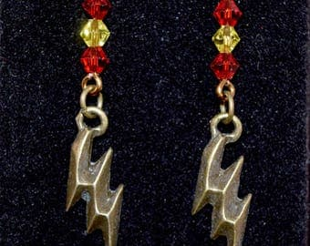 The Flash Earrings - Lightning Bolt - Speedster - Geeky Jewelry - Comic Book - TV- Fandom - Red - Yellow - Crystal - Gifts for Her