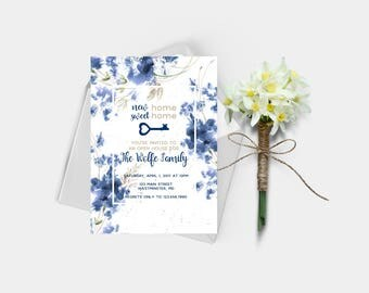 Open House Invitation, House Warming Party Invitation, Blue Watercolor Florals, House Warming, New Home Sweet Home, Digital Printable File