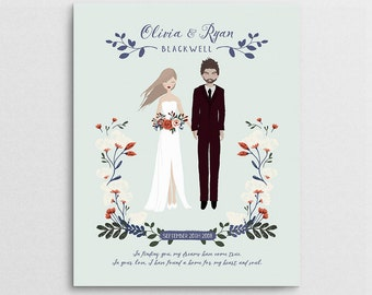 Wedding Gift - Wedding Portrait - Couple Portrait - First Anniversary Gift - Couple Illustration - Semi Custom Portrait - Bridal Shower Gift