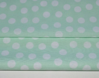 Mint and White Polka Dot Fabric, Apparel Fabric, Mint Quilting Fabric, 100% cotton, Fabric by the Yard