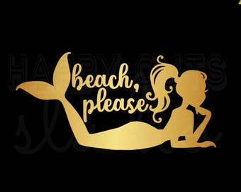 Beach, please Gold  Metallic Mermaid Iron On Vinyl Decal Fun Vacation Cruise Mermaid Iron On Matching Mother Daughter  for T Shirt 314