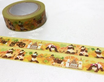panda washi tape 10M fancy yellow tape cute animal little horse bicycle countryside church deco sticker tape kawaii animal tape scrapbook