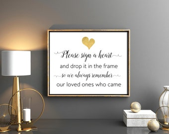 Wedding Guest Book Sign Please sign a heart and drop it in the frame Wedding printable signs 8x10 7x5 Wedding reception sign Welcome sign