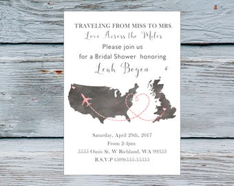 USA and England or any other countries Traveling from Miss to Mrs Travel theme bridal shower invitations Travel bridal shower invite