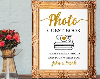 Photo guest book - please leave a photo and your wishes for - custom wedding guest book - PRINTABLE 8x10 - 5x7