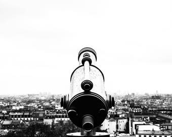 Black and White Paris Skyline Photo - Paris Photography - Wall Art Print - Paris Decor - Architecture  - Telescopic París B/W - 0038