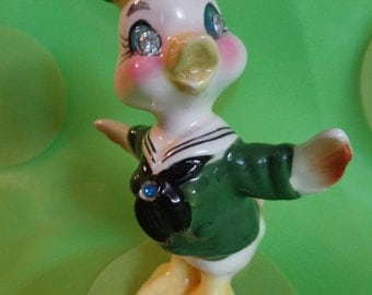 Vintage Chick Duck ~ Rhinestone Eyes ~ Easter Decoration ~ Made in Japan ~ 1950's ~ Kitsch ~ Retro