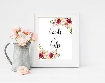 Burgundy Printable Boho Cards & Gifts Sign, Marsala Floral Wedding Sign, Wedding Gift Table Sign, Printable Sign, Instant Download 120-W