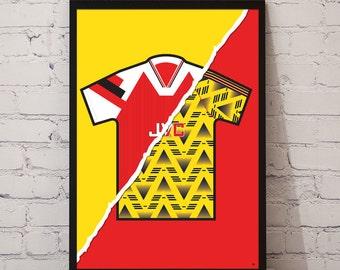 1992-94 Arsenal Home X 1991-93 Away Kit Print