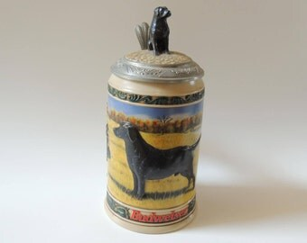 Vintage Collectible Stein, Limited Edition Budweiser Stein, black lab beer stein, hunter's companion stein, beer mug, stein with lid