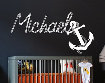 Name WALL DECAL BOY Personalized Anchor Vinyl Sticker Decals Custom Name Decals Nautical Anchor Name Decor Nursery Kids Baby Boys Room x265