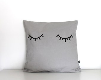 Cushion cover with eyes Eyelashes pillow cover. Grey FREE UK shipping Decorative throw pillow. Nursery decor. Pillow cover.
