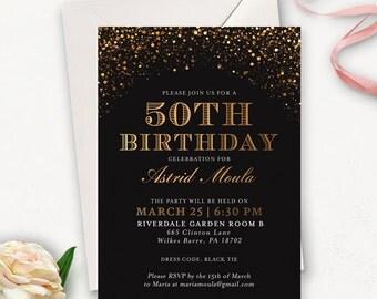 50th Birthday Invitation / Golden Birthday Invitation / Printable Birthday Invitations for Women / Surprise Birthday Invitations
