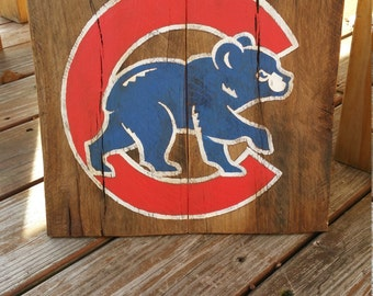Rustic Chicago Cubs Logo Wooden Sign