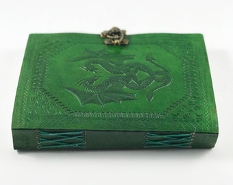 Green Dragon Leather Journal, Dragon Leather Journal, Green Leather Journal, Large Green Leather Journal, Game Of Thrones Ruled Journal