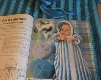 Vintage baby sleeping bag, hand crocheted 1970's sleeping bag with original mon tricot knitting and crochet pattern book