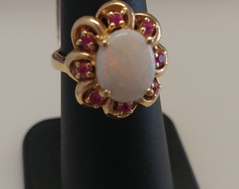 Opal Sapphire Flower Ring