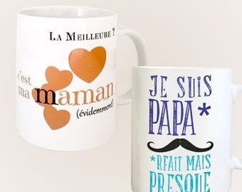 Set of two mugs for MOM and dad gifts: I am paparfait but almost + the best is my mom
