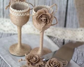 Burlap Rose Wedding Set, Rustic Toasting Flutes & Cake Cutting Set, Twine Champagne Glasses, Cake Serving Set, Bride and Groom Wedding Set