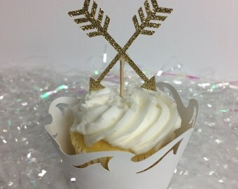 Boho arrow gold glitter cupcake toppers  ~ party  ~ gold ~ glitter ~ arrow