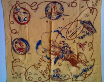 Vintage Roy Rogers And Trigger Western Bandana