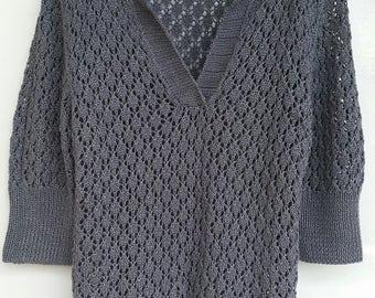 GEDIFRA sweater polo openwork AYALA viscose knitted linen blue grey hand 40/42 en new