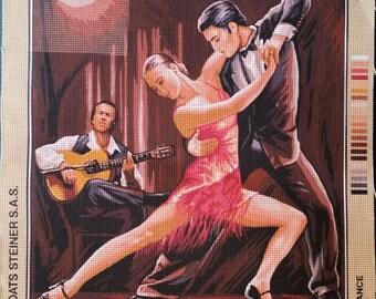"""Royal Paris canevas toile antique """"Le Tango"""" danse, couple, Argentine ,dancer 142 486 47cm x 37cm"""