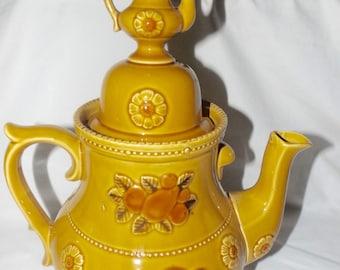 Ceramic Teapot Cookie Jar vintage retro classic 70's color floral,fruit design,kitsch kitchen decor,vintage kitchen cookie jar,teapot decor