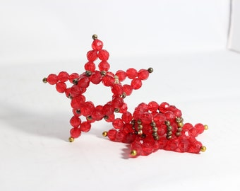 Star Candle Holders / Handmade Vintage Red Star Candle Holder made with Red Plastic Beads / Christmas Decor / 4th of July Set of 2